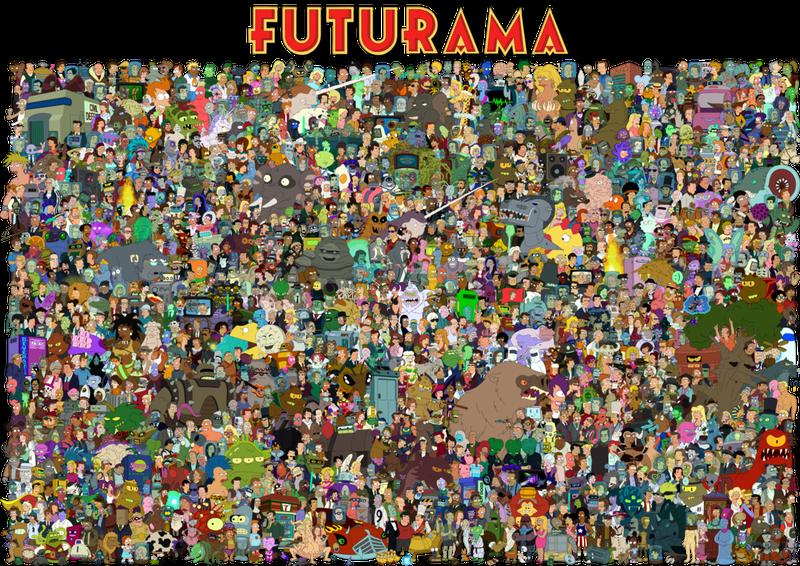The entire cast of Futurama on one massive poster