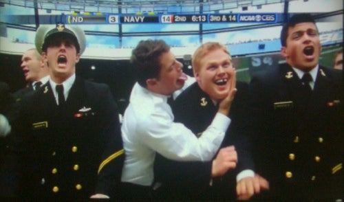 In The Navy, You Can Lick Your Gap-Toothed Pal's Ear If You Beat Notre Dame
