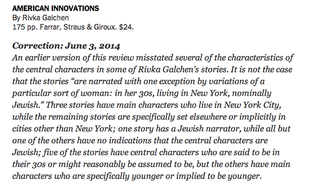 New York Times Correction: The Characters Are Not the Author