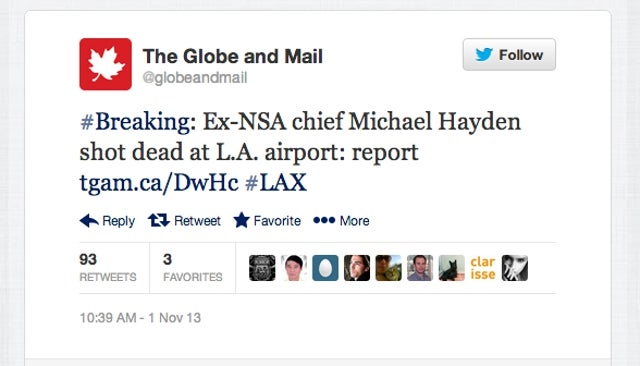 Globe and Mail Falls for Hoax that Michael Hayden Shot Dead at LAX