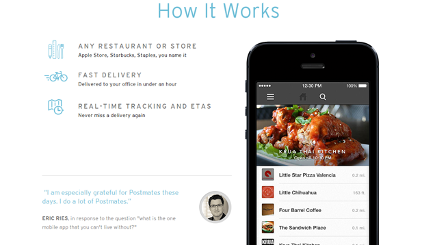 Postmates Delivers From Local Restaurants or Stores in Under an Hour