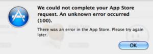 """Fixing Mac App Store's """"Error 100″"""