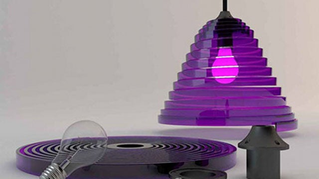 Lucite Lamps Made of Bricks and Springs Are Big Design in a Little Box