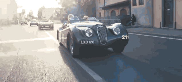 Watch Jay Leno Hammer On A Classic Jaguar At The Mille Miglia