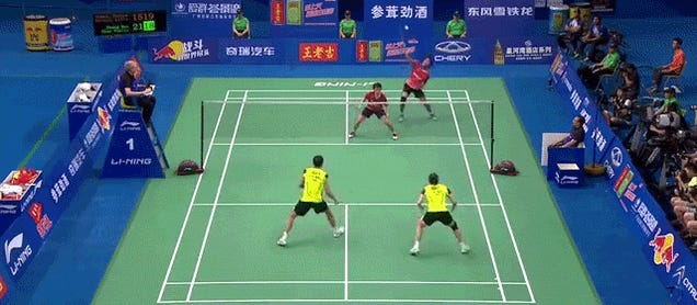This ridiculous badminton rally shows how impossibly quick humans are