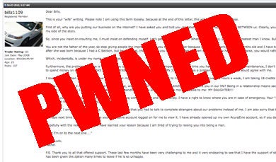 Wife Hacks Husband's Car Forum Account, Divorces Him With It