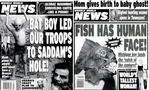 Alien Cheerleaders Marry Sergey Brin: Google Embraces Weekly World News
