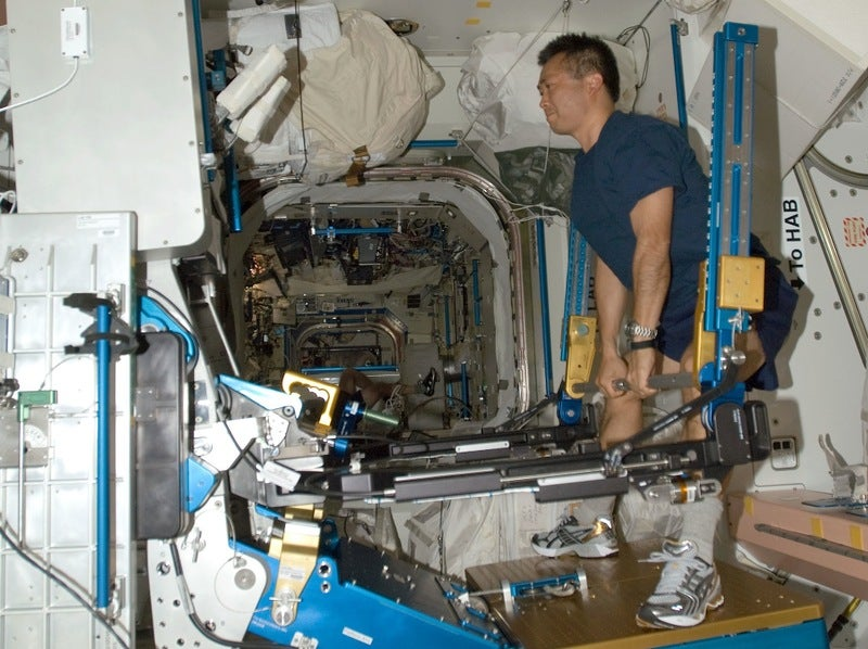 Pumping Iron in Zero Gravity Aboard the ISS