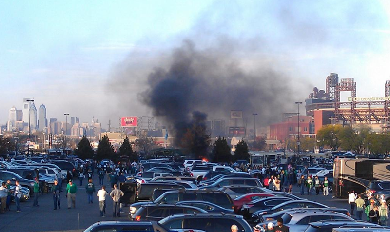 Before The Eagles Lost To The Cowboys A Car Was Ablaze In The Parking Lot [UPDATE]