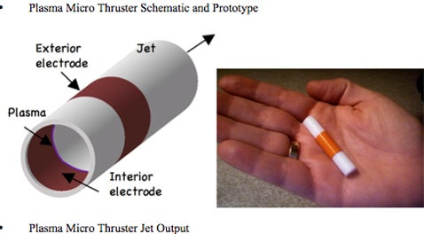 Plasma Thruster Powered, Cigarette Sized, Unmanned Aerial Vehicles to Take to the Skies