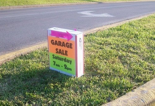 Make a Weighted Garage Sale Sign for Windproof Promotion