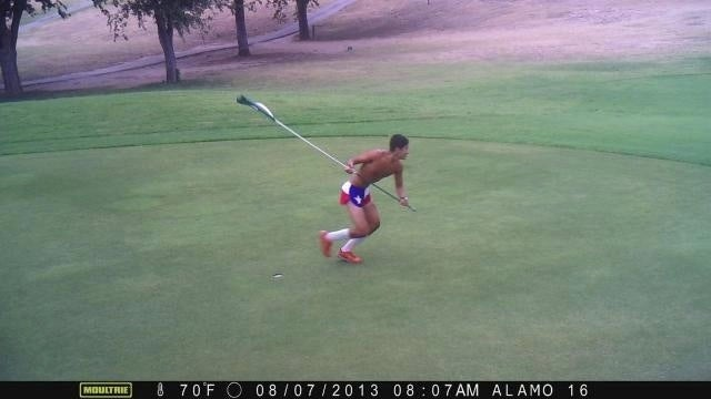 This Half-Naked Alamo Golf Club Flag Thief Is Liberty Personified