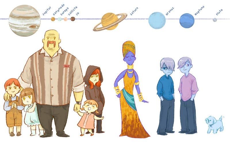 The planets of the solar system imagined as human (and canine) characters