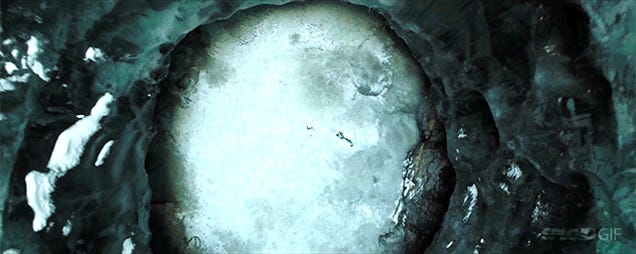 Flying with a drone into an incredibly huge ice abyss in Alaska