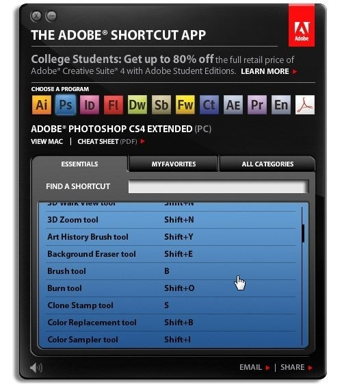 Adobe Shortcut App Makes Finding Hotkeys Easier