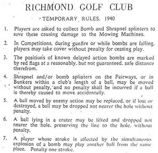 In 1940, an English golf club wrote rules explaining proper conduct should Nazi bombs suddenly fall