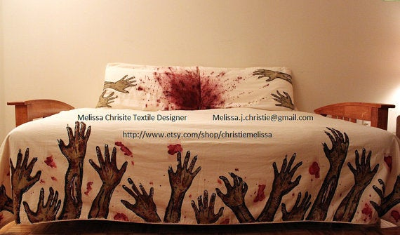 Relive your own zombie death every night with this undead bedspread