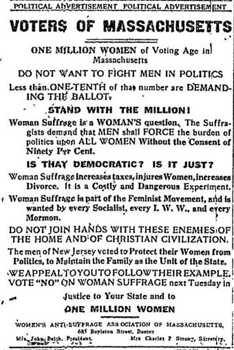 "Vintage Ad Warns About The ""Dangerous Experiment"" Of Allowing Women To Vote"