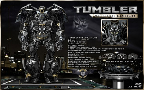 Batman Tumbler Transformer Eats Jokers and Decepticons for Breakfast