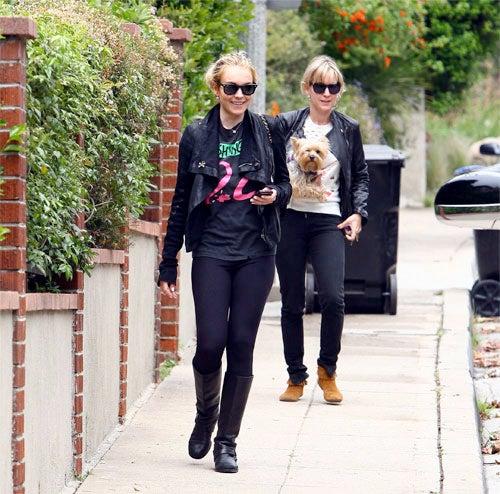 Friend Keeps Four-Legger Far Away From Fur-Snatching Lindsay Lohan