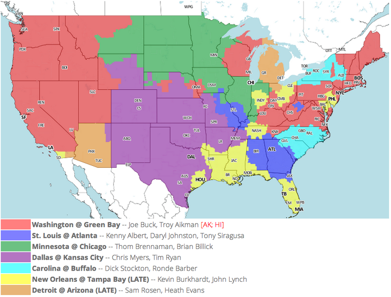 Which TV Market's Getting Screwed Today? Your Week 2 NFL Viewing Maps