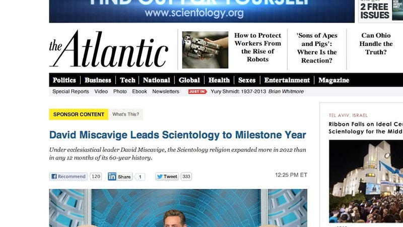 The Atlantic Is Now Publishing Bizarre, Blatant Scientology Propaganda as 'Sponsored Content' (UPDATE)