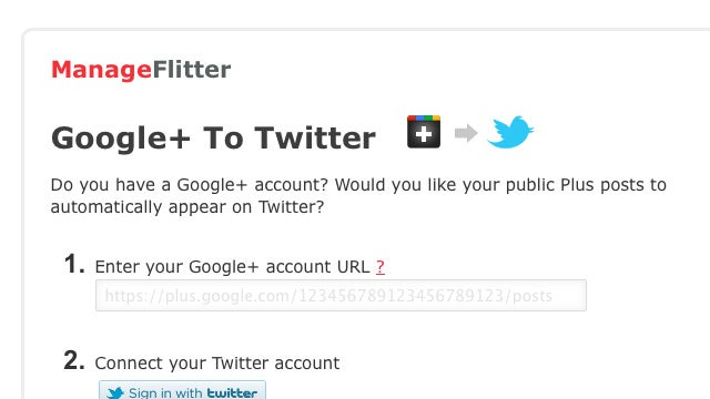 ManageFlitter Automatically Sends Public Google+ Posts to Twitter