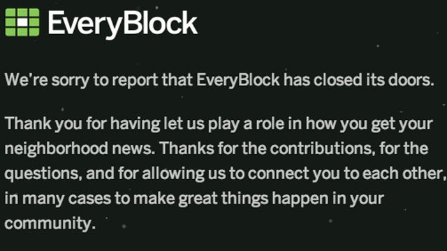 Hyperlocal News Site EveryBlock Shuts Down Unexpectedly