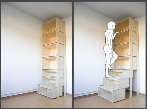 StairCASE's Bottom Shelves Keep Highest Books in Reach