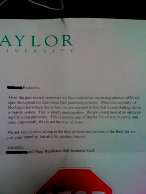 Letter Chiding Baylor Students For Clogging Plumbing System With Semen Is Too Good To Be True, Alas