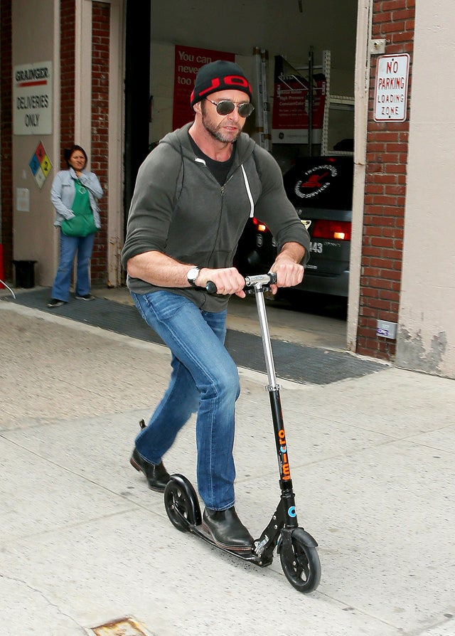 Hugh Jackman Rides Scooter on NYC Sidewalk, Confuzzles Bystander