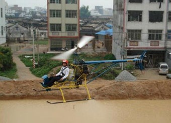 Chinese Man Builds Hand-Made Helicopter, Flies It