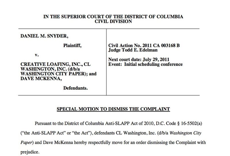 Will Daniel Snyder's Lawsuit Be Dismissed As A Nuisance?
