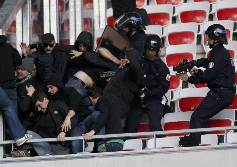 Photos: French Soccer Fans Brawl With Riot Police