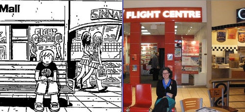 A side-by-side comparison of Scott Pilgrim and the real world