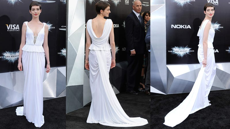 Anne Hathaway's Exquisite Breasts Distract from Her Bad Haircut at the Dark Knight Premiere