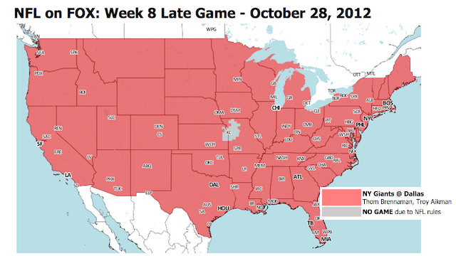 Which TV Market Is Getting Screwed This Sunday? An Analysis Of Week 8 NFL Viewing Maps