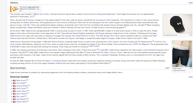 You Can See The Outline Of Some Dude's Dick On The Under Armour Wikipedia Page [UPDATE]