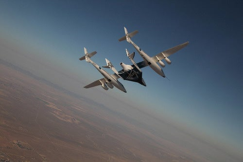 Virgin Galactic's tourism spaceship, making its first flight with crew