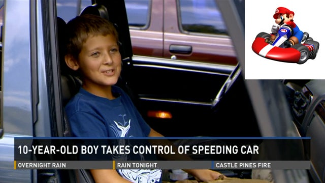 Boy Credits Mario Kart After He Stops Out-of-Control Car