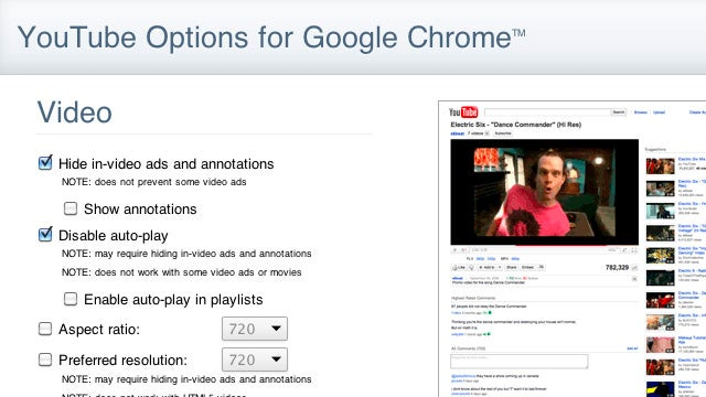 YouTube Options for Google Chrome Disables Ads, Hides Comments