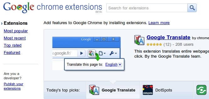Chrome Extensions Gallery Officially Opens