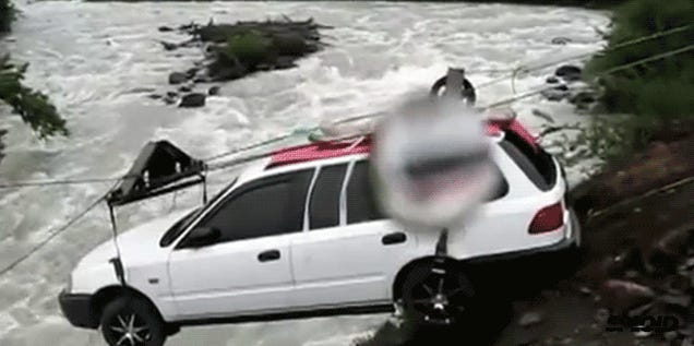 Watch a car impossibly zipline across a river