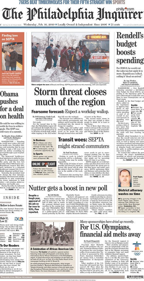 Snow Gets Everywhere Except the Front Pages