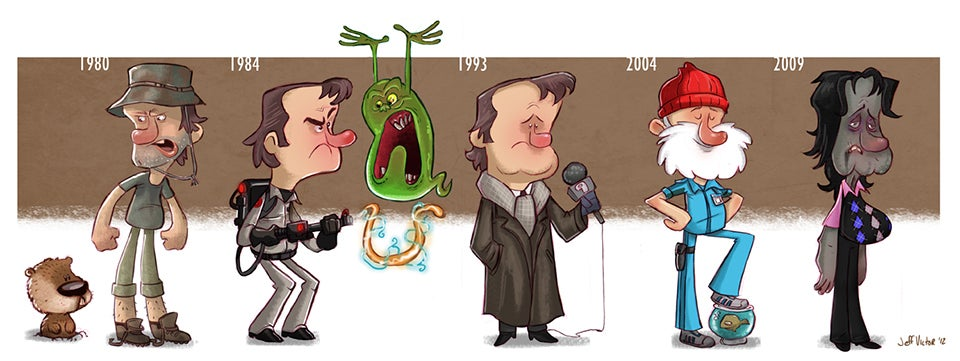 Fantastic cartoons show the evolution of famous characters and actors