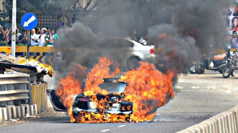 Audi R8 Consumed By Spectacular Fire During Car Show In Mumbai