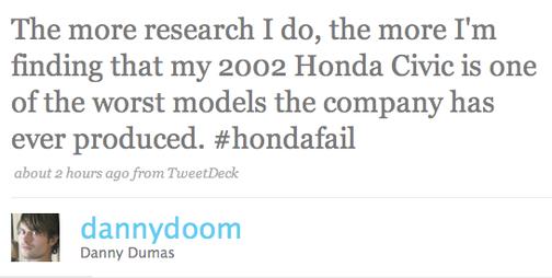 The Twitterati Stay Up All Night Cursing Their Honda