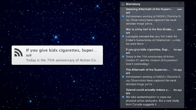 Monotony Adds RSS Feeds to Your Mac's Notification Center