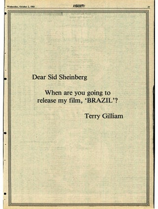 The Hilarious Ad Terry Gilliam Took Out In Variety To Protest The Re-editing Of Brazil
