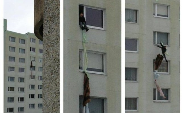 Man Makes Failed Attempt to Climb Out Eighth Story Window with Bed-Sheet Rope After Wife Locks Him in Bedroom